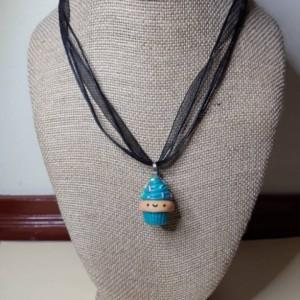 Polymer Clay Kawaii Cupcake Necklace, Miniature Food, Fake food