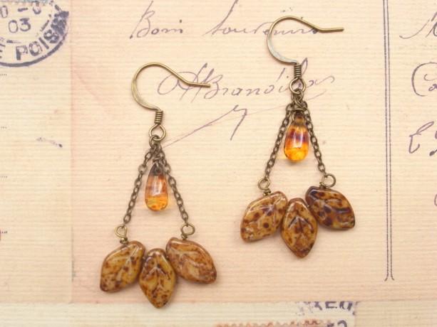 Earrings Brown Color Leaf and Drop Glass Beads Fall Ethnic Natural Boho Bohemian Earth Amber Dangle Fallen Leaves Defoliation Botanical