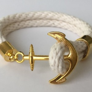 Ivory Rope Bracelet with Gold Anchor Closure