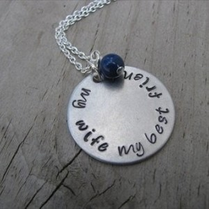 "Wife Necklace- ""my wife my best friend"" -Hand-Stamped Necklace with an accent bead in your choice of colors"