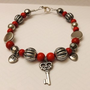 Silver and Red Key Jewelry Set