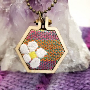 Embroidered Flower Honey Comb Hoop Art Necklace