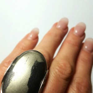 Huge Pyrite Ring, Size 8, Handmade Statement Bold Natural Stone