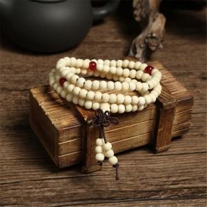 White Natural Sandalwood Tibetan Buddhist Mala Bead Bracelets, Meditation Bracelet, Yoga Bracelet