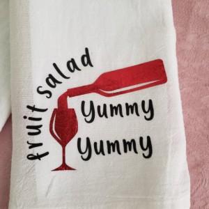 Tea towel set, flour sack towel, kitchen towel, wine towel, fruit salad yummy yummy