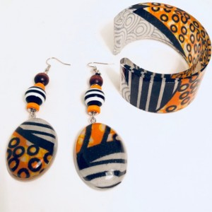 Resin African Print Fabric Earrings and Cuff Bangle Orange and Black