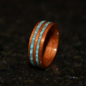 Ready to ship size 8.75 Hand Made Spanish Cedar with Double inlayed Sleeping Beauty Turquiose Wooden Ring