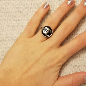 Authentic Iconic Designer Button Ring Black and Silver, Insignia Ring Classic Designer Up-Cycled Button Jewelry