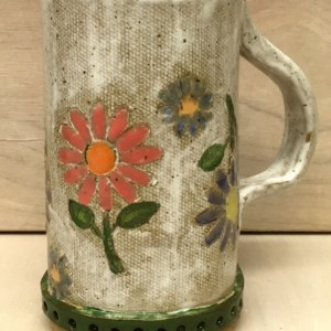 Handbuilt Distressed Floral Mug, Multicolored