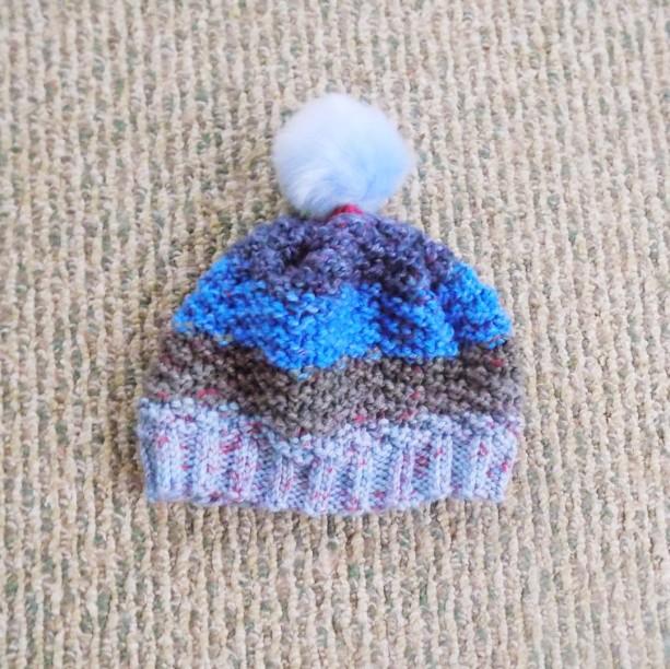 Toddler Knit Hat w/ Faux Fur Pom Pom