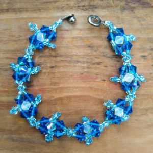 Crystal picot bracelet in capri blue