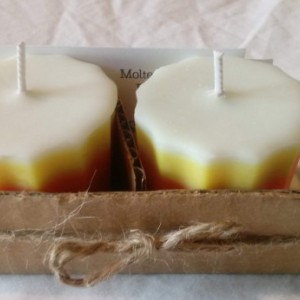 Set of two handmade 2.5 oz soy wax unscented candy corn votive candles