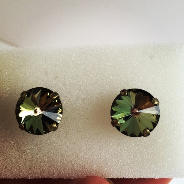 Olive Green Studs Tabac Bridesmaid Earrings Fall
