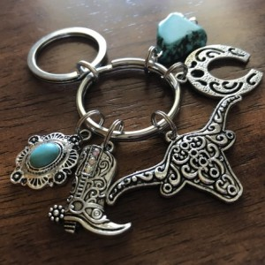 Western Theme Keychain, Cowgirl Keychain, Cowboy Boot, Longhorn Keychain, Charm Keychain, Horseshoe, Faux Turquoise, Car Accessories, Gift