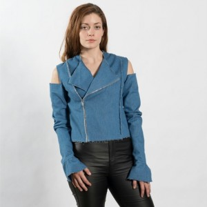 Womens denim moto jacket
