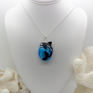 Handmade Killer Whale Orca Lampwork Bead Necklace Tribute to Tilikum Made to Order