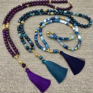 Long Statement Tassel Necklace, Jade Tassel Necklace, Long Necklace, Beaded Necklace, Long Purple Statement, Purple Statement Necklace