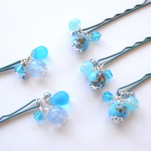 Hair Pin Set of 5 Aqua Color Lampwork Beads Bobby Pin Handmade Blue Summer Hair Accessory For Girl Woman Dot Stripe Pattern Sea Beach