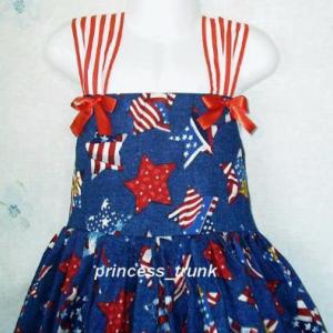 NEW Handmade Patriotic July 4th Stars On Navy Sun Dress Custom Sz 12M-10Yrs