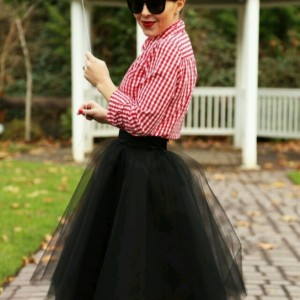 Black layered midi very full tutu tulle skirt