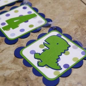 Dinosaur Themed Birthday or Shower Banner- I Am 4