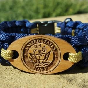 United States Navy Paracord Laser-Cut Charm Bracelet, Military Bracelet