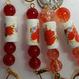 Hand Painted Ivory Stretch Bracelets Blues Or Orange & FREE Matching Earrings