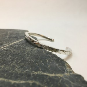 Silver Filed Pattern Bracelet—Size 6.5 to 6.75