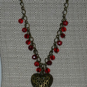 Antique Bronze Heart Necklace A01342