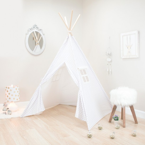 White with Purple Mini Flowers Kids Teepee