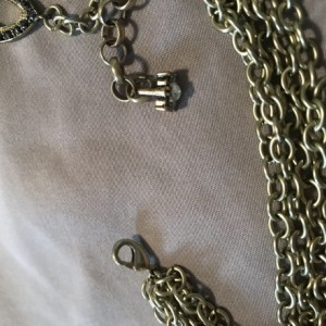 Handmade Multi Chain Muted Gold Charms Rhinestone