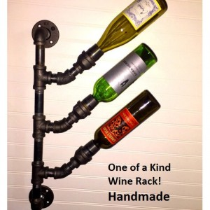 Industrial Black Pipe Wine Rack Bottle Holder Steampunk Loft Urban Decor Wall Mount Wine Tree Industrial wine rack