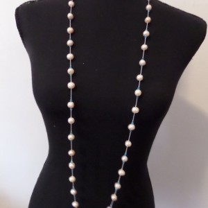 Freshwater Pearl and Neon Apatite endless knotted necklace