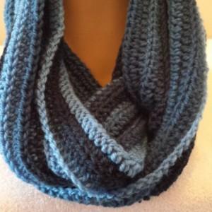 Infinity Cowl Scarf, Unisex Neckwarmer Scarf,  Crocheted Shades of Blue Handmade