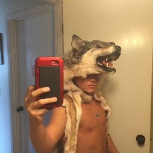 Wolf headdress mounted head w teeth feet and claws Native American Made