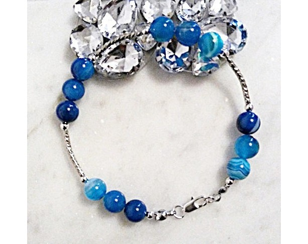 Blue Lace Agate Bracelet, Agate Beaded Bracelet, Agate Stone Bracelet, Blue Stone Bracelet, Gemstone Bracelet, Gift for Women, On Sale, Gift