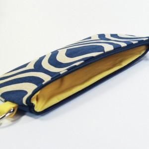 Medium Wristlet Zipper Pouch Clutch - Navy Mod