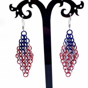 Chainmaille patriotic American Flag dangle earrings