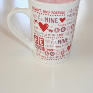 Valentine's Day Red and White Hearts and Arrow Sweet Pea Scented 15 oz Pink Soy Wax Mug Candle
