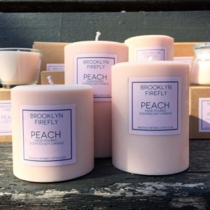 Peach Candles. FREE SHIPPING. Scented Soy. Round Pillars. Set of 3.