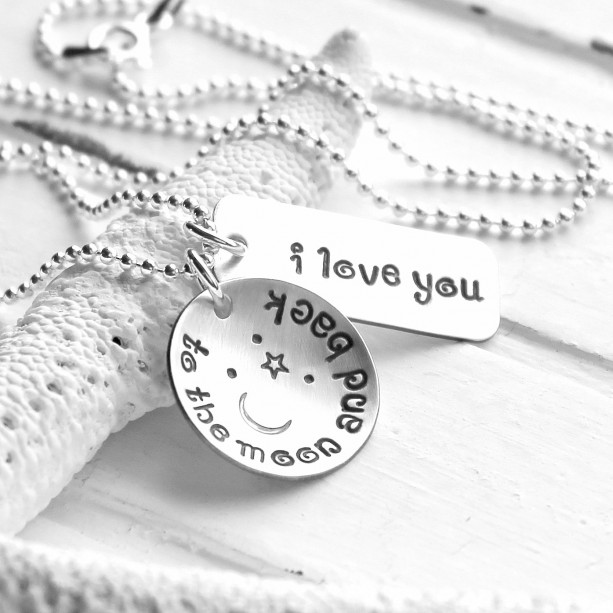 I Love You To The Moon And Back Hand Stamped Necklace