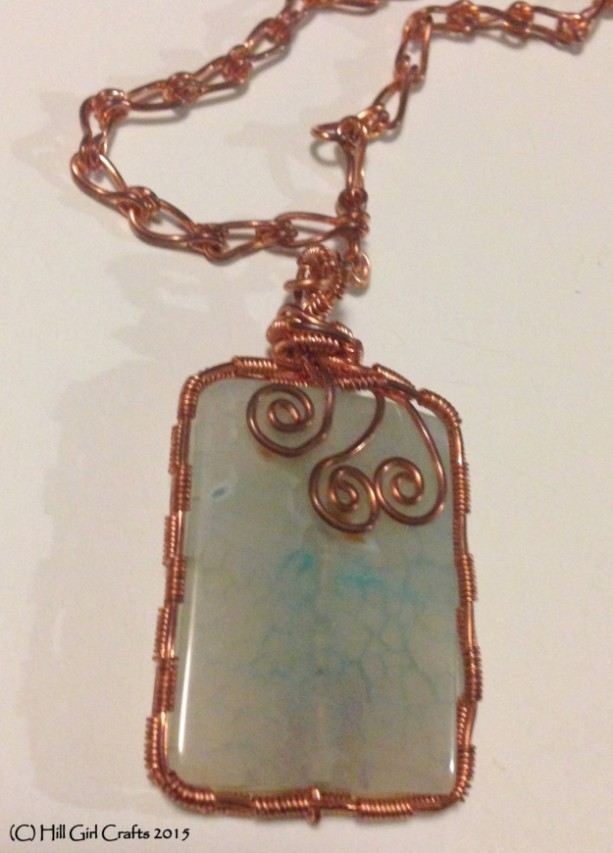Wire wrapped jewelry, wire wrapped copper necklace , handmade jewelry, died agate stone bead