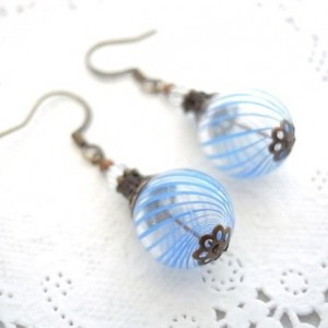 Earrings Aqua Color Hollow Glass Beads Handmade Stripe Hand Blown Drop Dangle Blue Summer Resort Sea Beach Jewelry Accessory Fish Hook