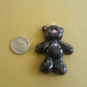 Teddy Bear Polymer Clay Necklace Charm, Zipper Pull, Polar Bear Zipper Pull, Teddy Bear Zipper Charm, Black Bear Zipper Pull