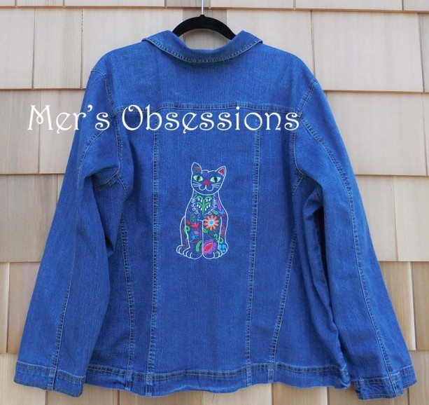Women's Denim Jacket with Embroidered Mexican Style Floral Cat