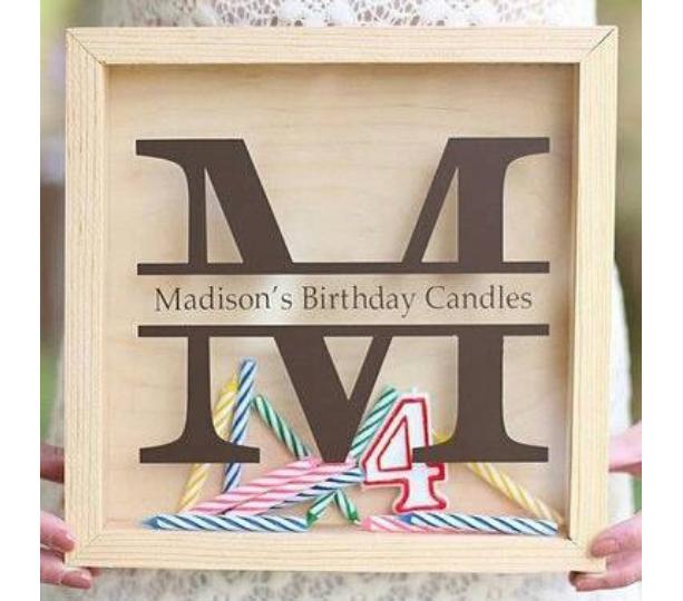 Birthday Candle Storage First Birthday Gift - Personalized, Monogrammed - DIY Shadow Box Present Girl Boy