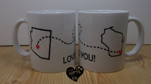 Love you! Mugs, (1 mug)  Best Friends Forever Mug, BFF Miss you , State and city mug, custom mugs, distance mug, birthday gift, going away