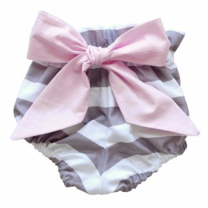 High Waist Bloomer - Grey and White Stripes with Pink Bow