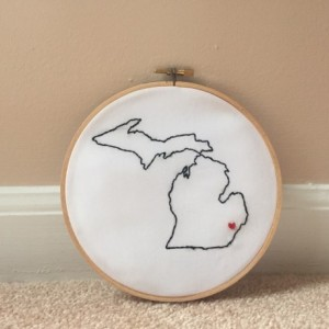 Custom Michigan Embroidery Hoop Art Wall Hanging