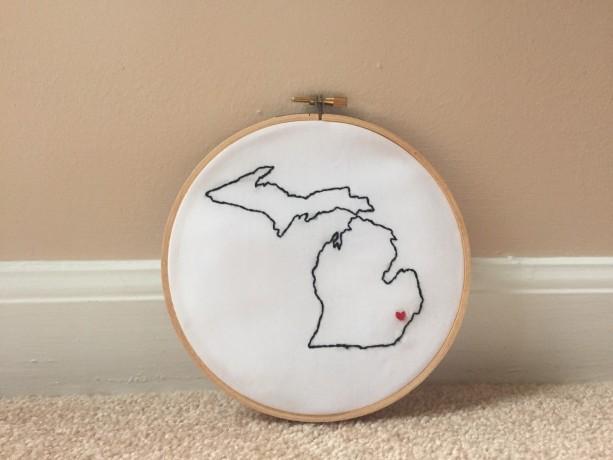 Custom Michigan Embroidery Hoop Art Wall Hanging